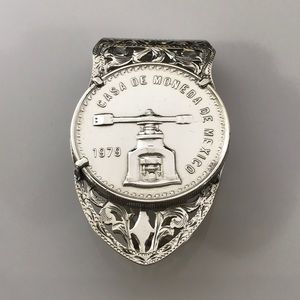 Silver Money Clip with 1979 Mexican Coin 1 Troy Oz